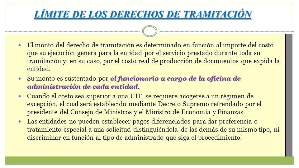 LÍMITE DE LOS DERECHOS DE TRAMITACIÓN