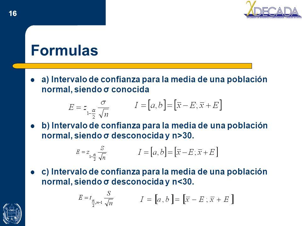 Formulas a) Intervalo de confianza para la media de una población normal, siendo σ conocida.