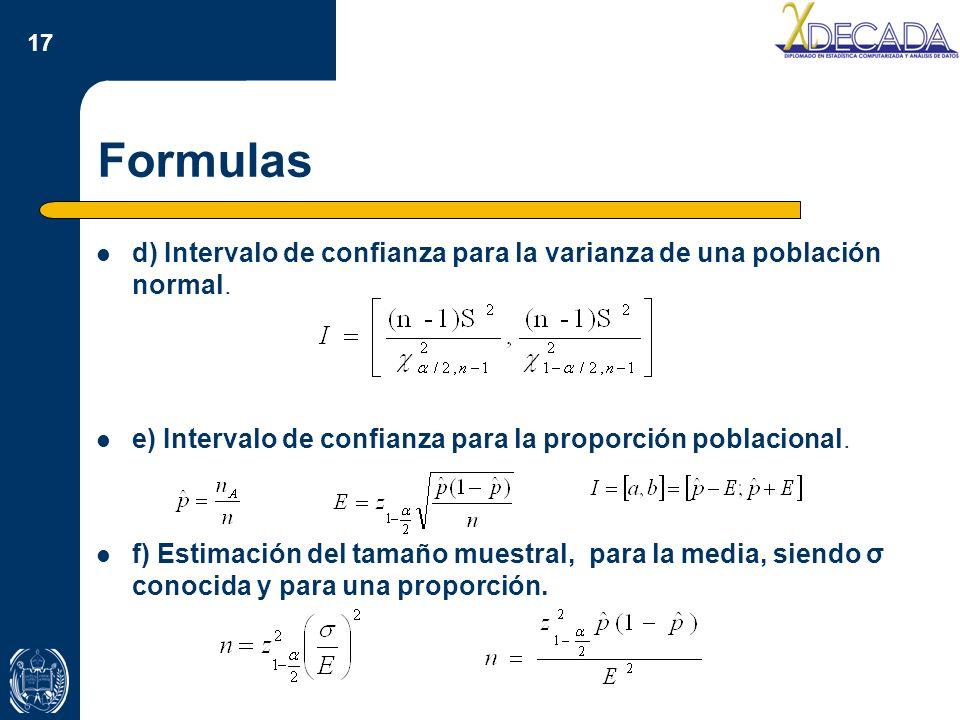 Formulas d) Intervalo de confianza para la varianza de una población normal. e) Intervalo de confianza para la proporción poblacional.