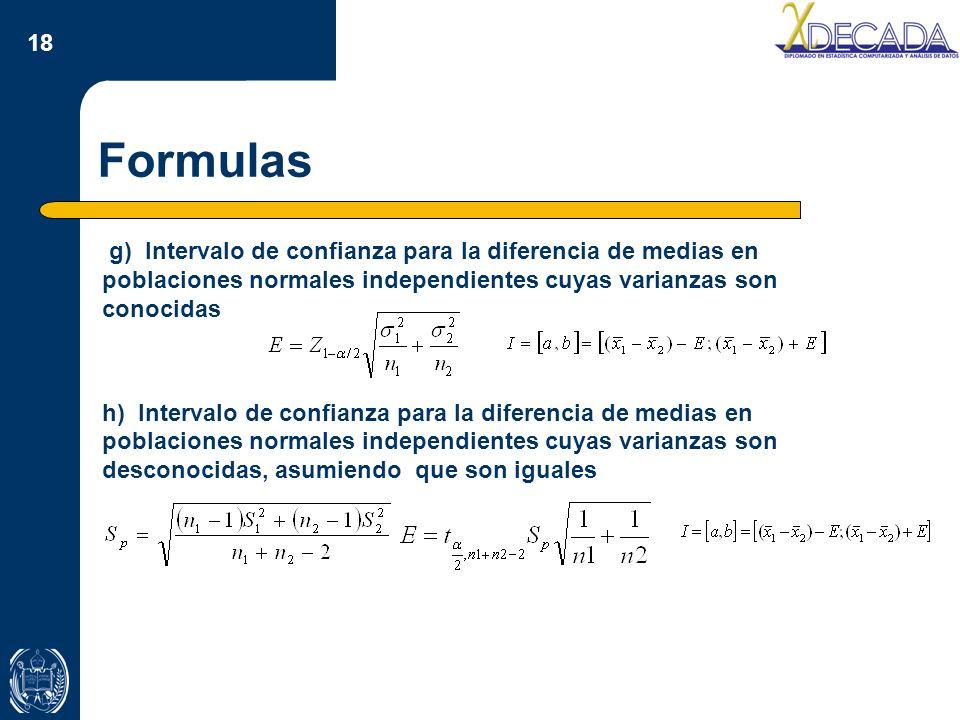 Formulas g) Intervalo de confianza para la diferencia de medias en poblaciones normales independientes cuyas varianzas son conocidas.