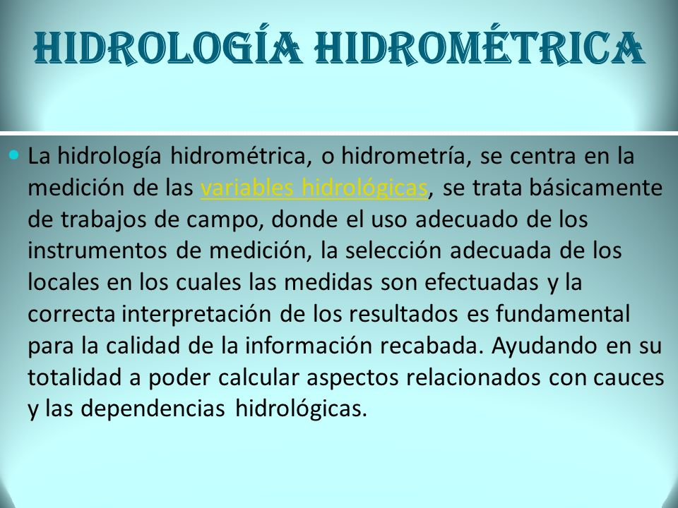 Hidrología hidrométrica
