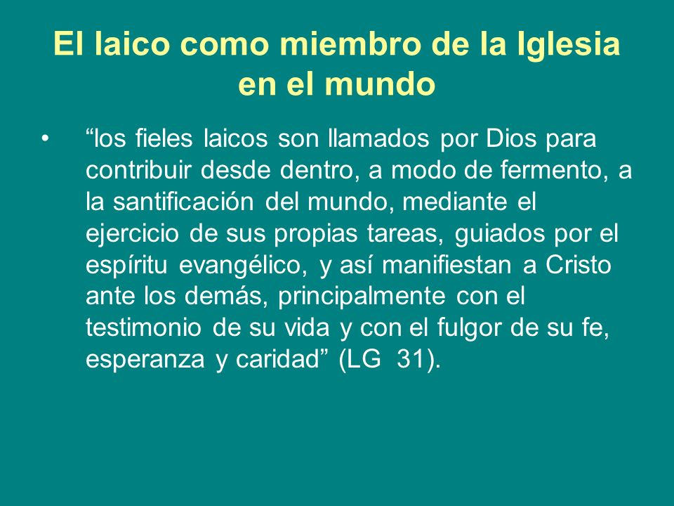 El laico como miembro de la Iglesia en el mundo