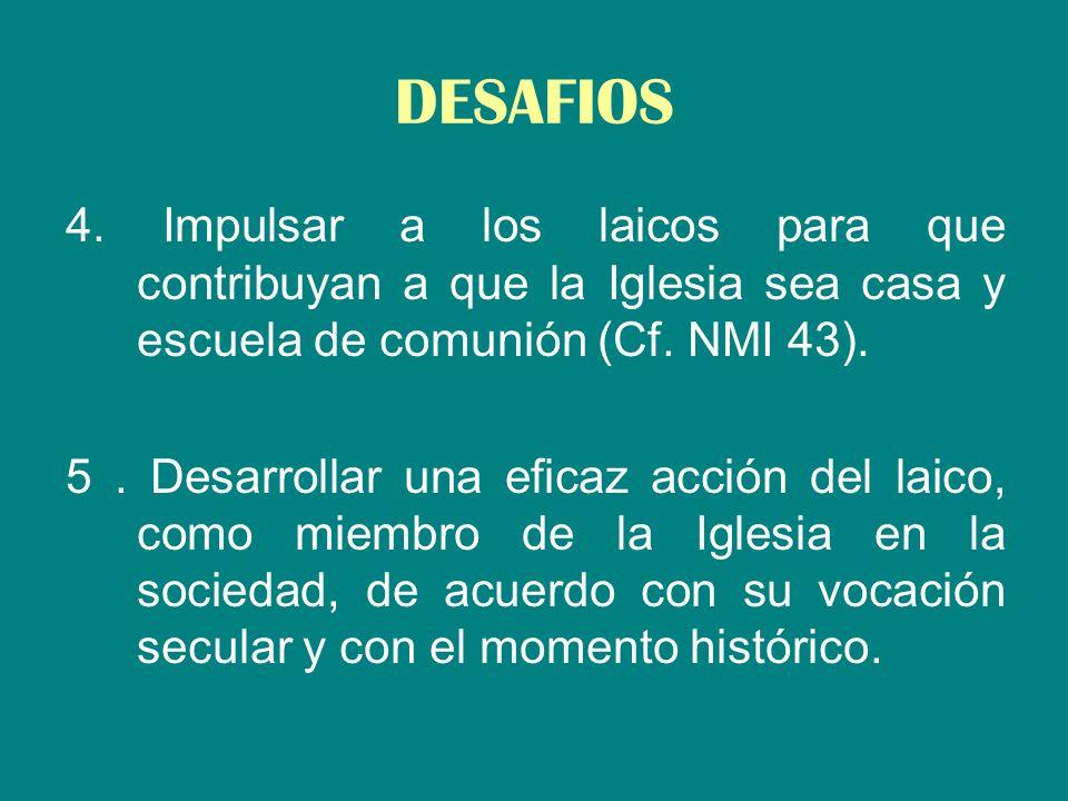 DESAFIOS 4. Impulsar a los laicos para que contribuyan a que la Iglesia sea casa y escuela de comunión (Cf. NMI 43).