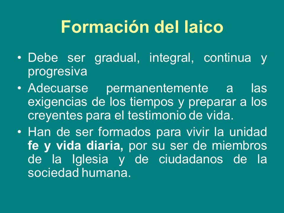 Formación del laico Debe ser gradual, integral, continua y progresiva