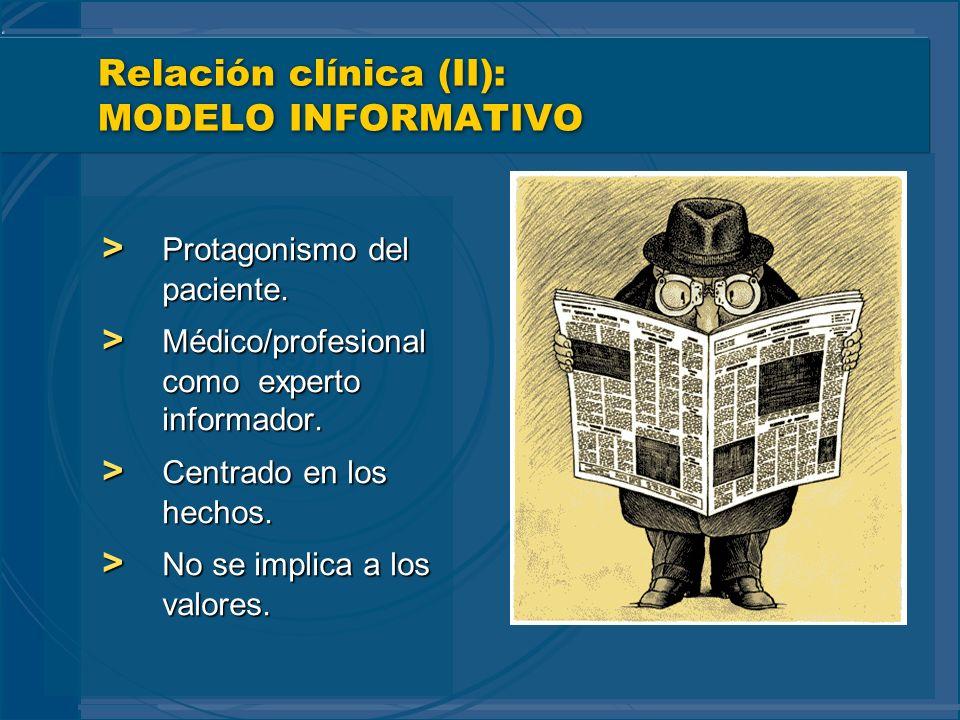 Relación clínica (II): MODELO INFORMATIVO