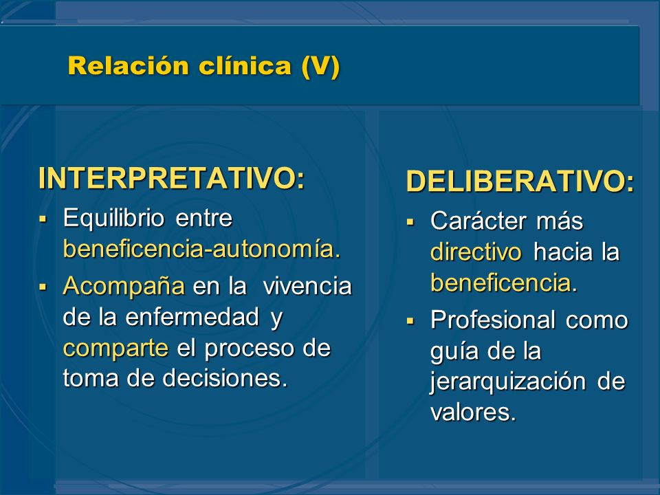 INTERPRETATIVO: DELIBERATIVO: Relación clínica (V)