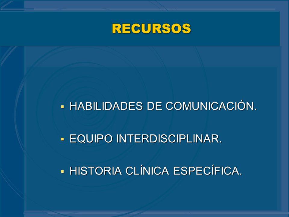 RECURSOS HABILIDADES DE COMUNICACIÓN. EQUIPO INTERDISCIPLINAR.