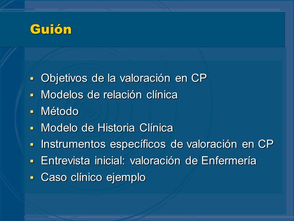 Guión Objetivos de la valoración en CP Modelos de relación clínica
