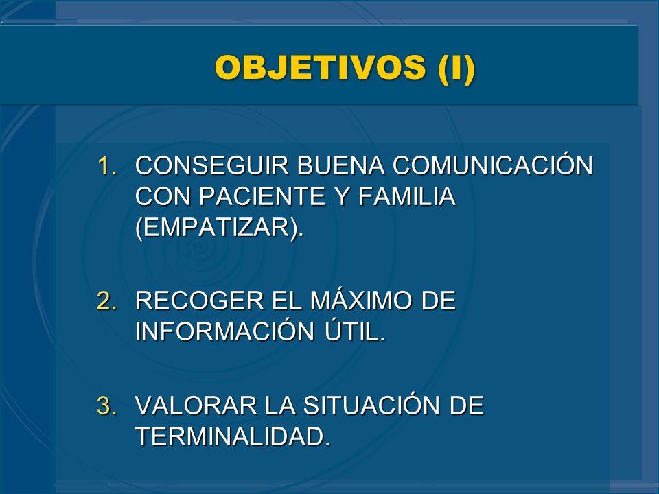 OBJETIVOS (I) CONSEGUIR BUENA COMUNICACIÓN CON PACIENTE Y FAMILIA (EMPATIZAR). RECOGER EL MÁXIMO DE INFORMACIÓN ÚTIL.