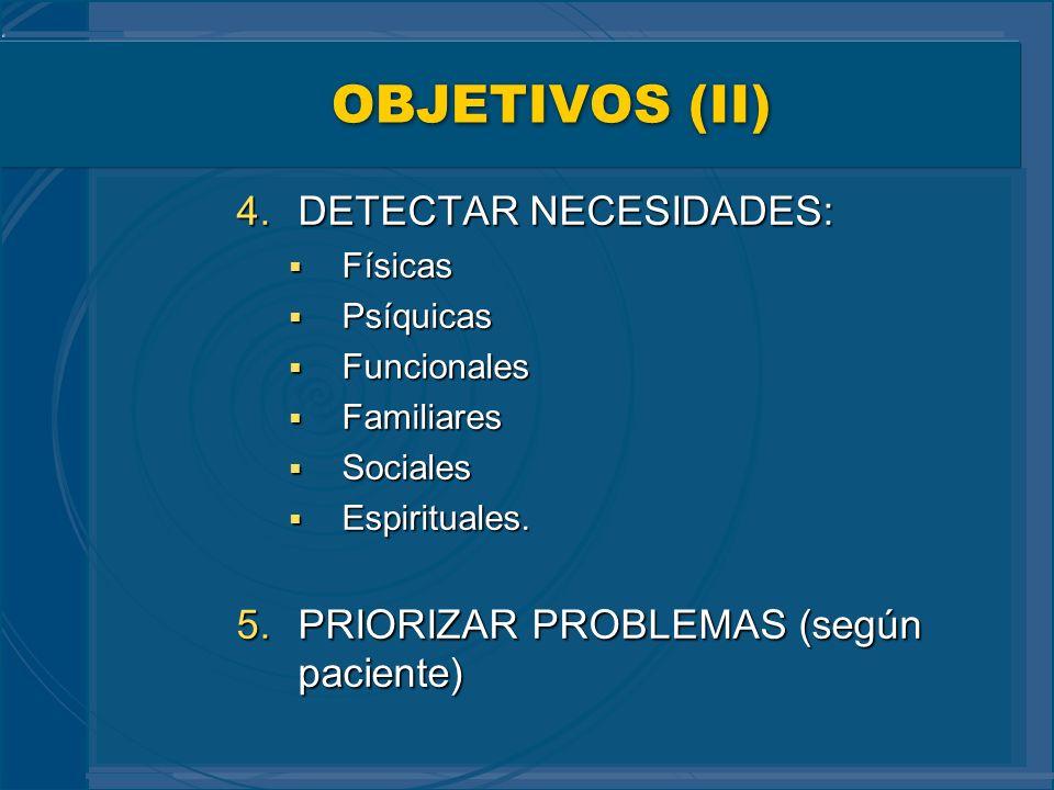 OBJETIVOS (II) DETECTAR NECESIDADES: