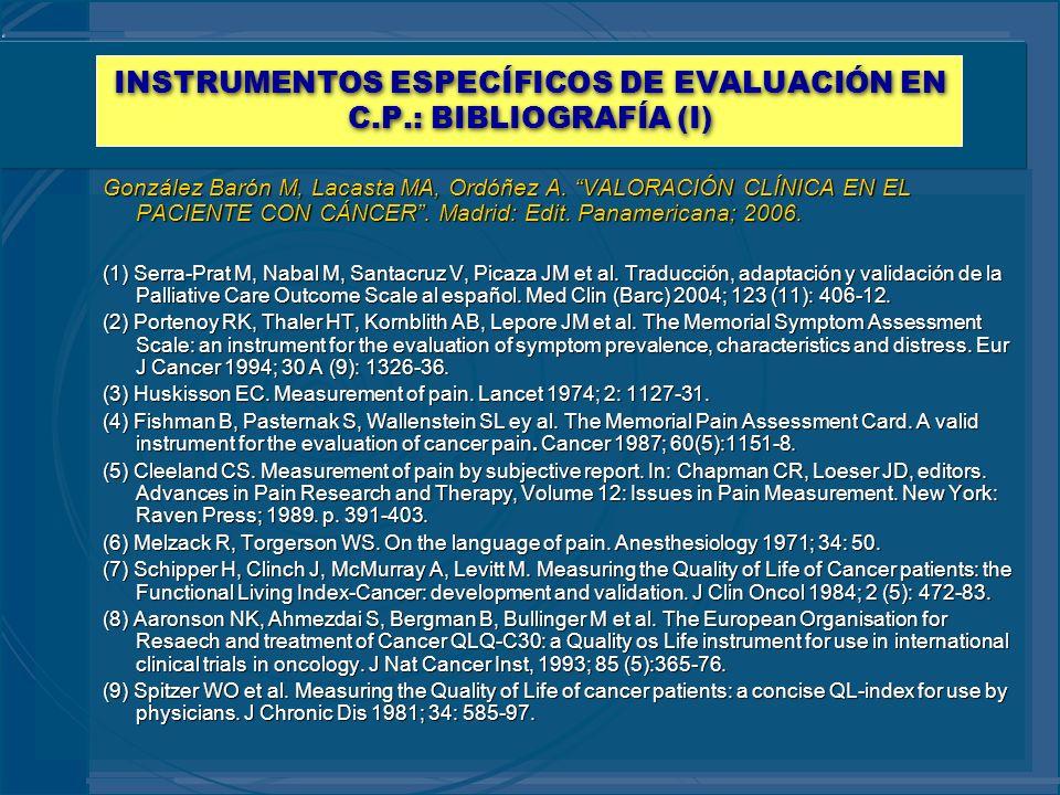 INSTRUMENTOS ESPECÍFICOS DE EVALUACIÓN EN C.P.: BIBLIOGRAFÍA (I)
