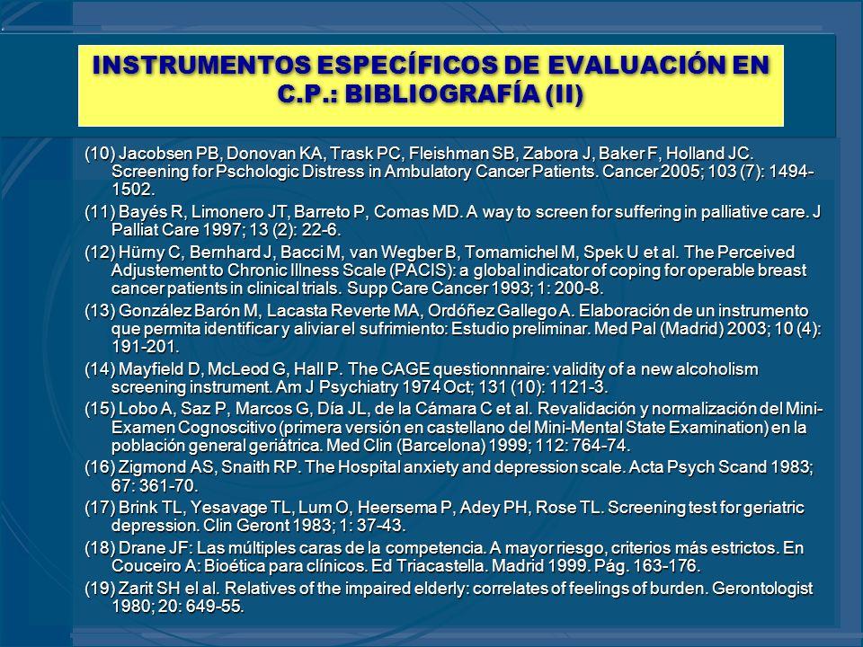 INSTRUMENTOS ESPECÍFICOS DE EVALUACIÓN EN C.P.: BIBLIOGRAFÍA (II)
