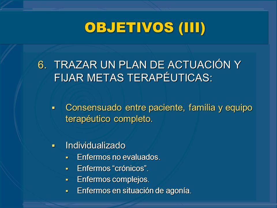 OBJETIVOS (III) TRAZAR UN PLAN DE ACTUACIÓN Y FIJAR METAS TERAPÉUTICAS: Consensuado entre paciente, familia y equipo terapéutico completo.