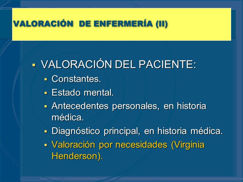 VALORACIÓN DE ENFERMERÍA (II)
