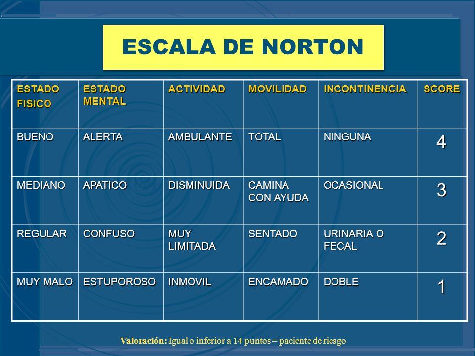 ESCALA DE NORTON 4 3 2 1 ESTADO FISICO ESTADO MENTAL ACTIVIDAD