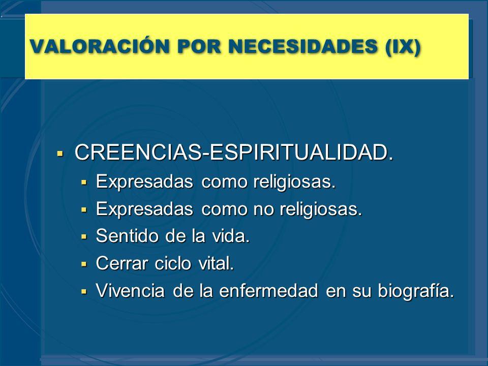 VALORACIÓN POR NECESIDADES (IX)