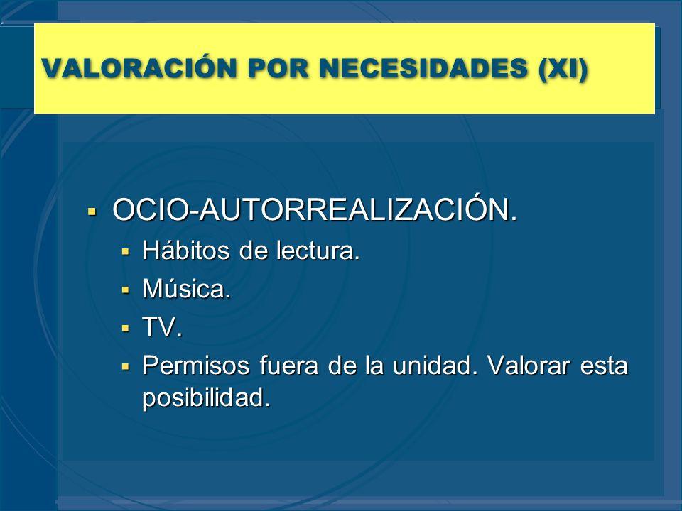VALORACIÓN POR NECESIDADES (XI)