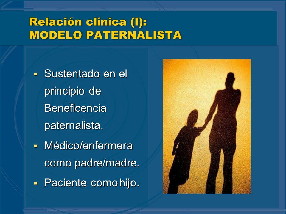 Relación clínica (I): MODELO PATERNALISTA