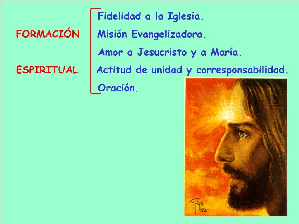 Fidelidad a la Iglesia.FORMACIÓN Misión Evangelizadora. Amor a Jesucristo y a María. ESPIRITUAL Actitud de unidad y corresponsabilidad.