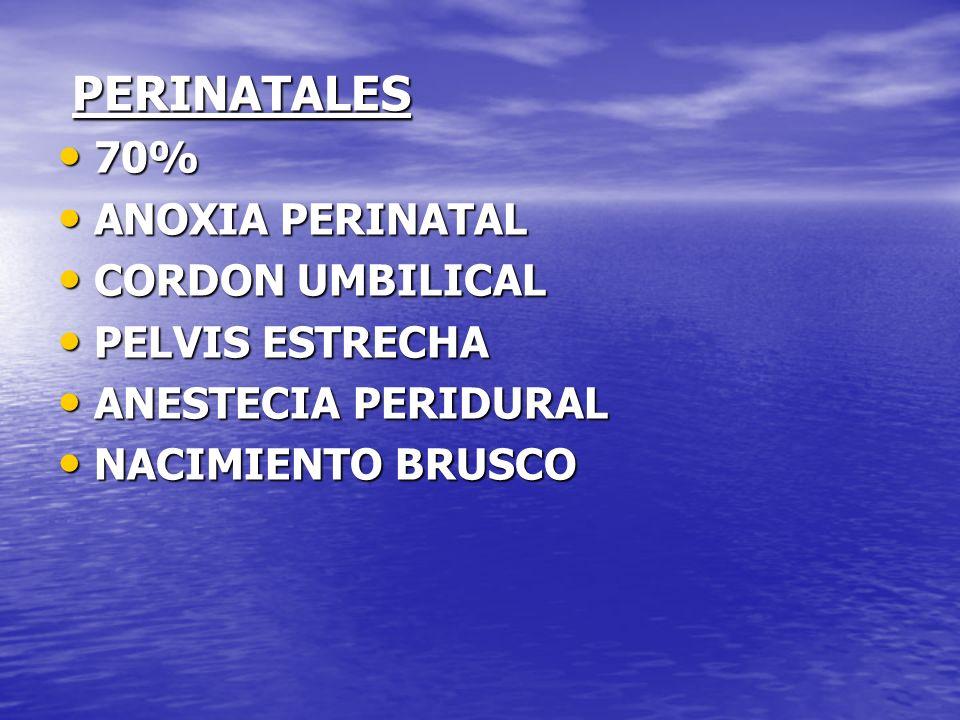 PERINATALES 70% ANOXIA PERINATAL CORDON UMBILICAL PELVIS ESTRECHA