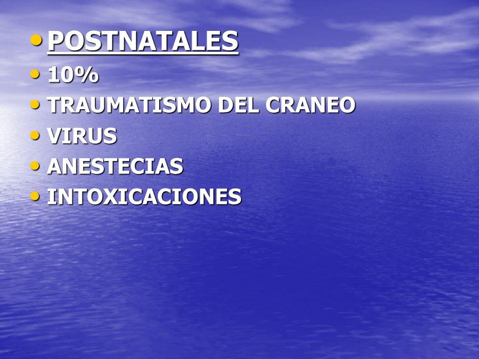 POSTNATALES 10% TRAUMATISMO DEL CRANEO VIRUS ANESTECIAS INTOXICACIONES