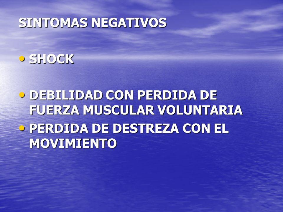 SINTOMAS NEGATIVOS SHOCK. DEBILIDAD CON PERDIDA DE FUERZA MUSCULAR VOLUNTARIA.
