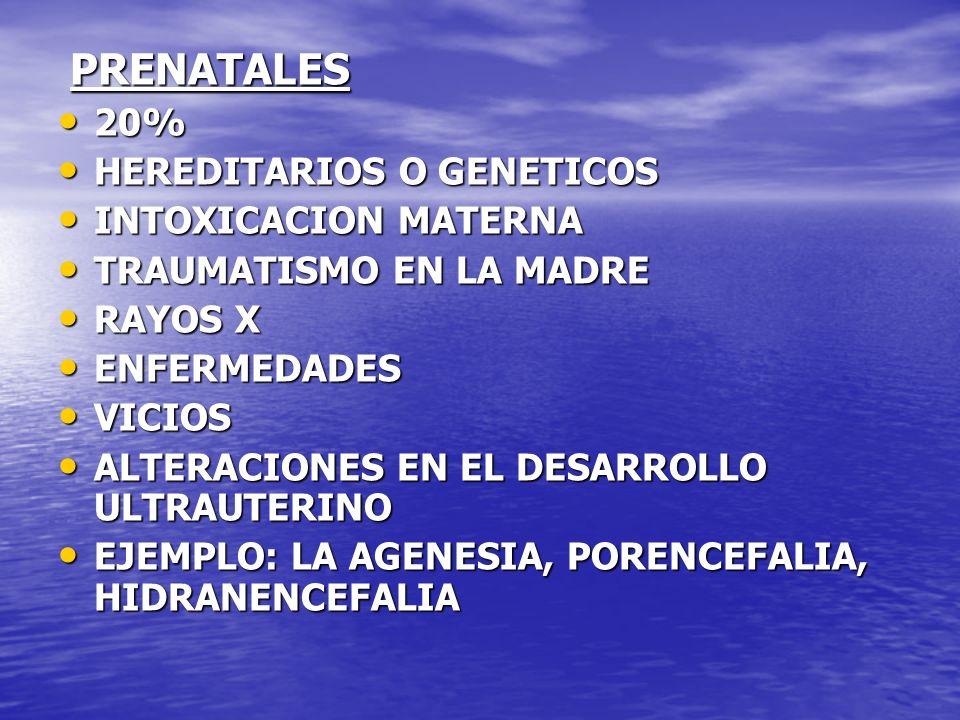 PRENATALES 20% HEREDITARIOS O GENETICOS INTOXICACION MATERNA