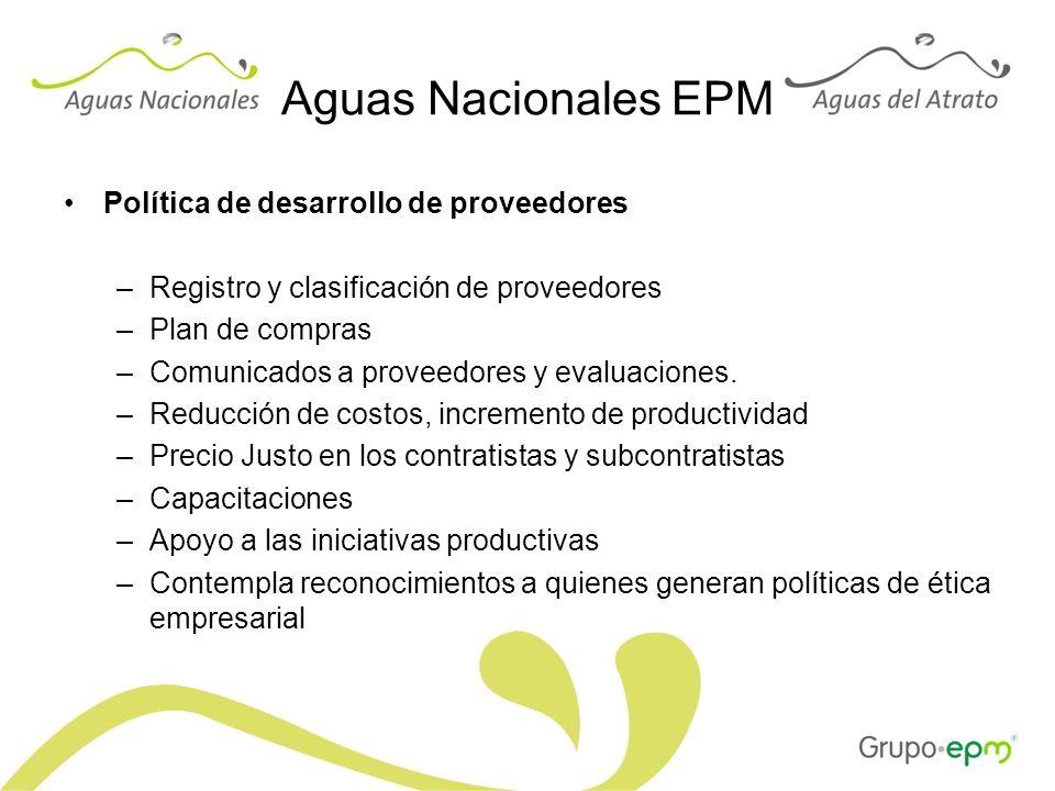 Aguas Nacionales EPM Política de desarrollo de proveedores