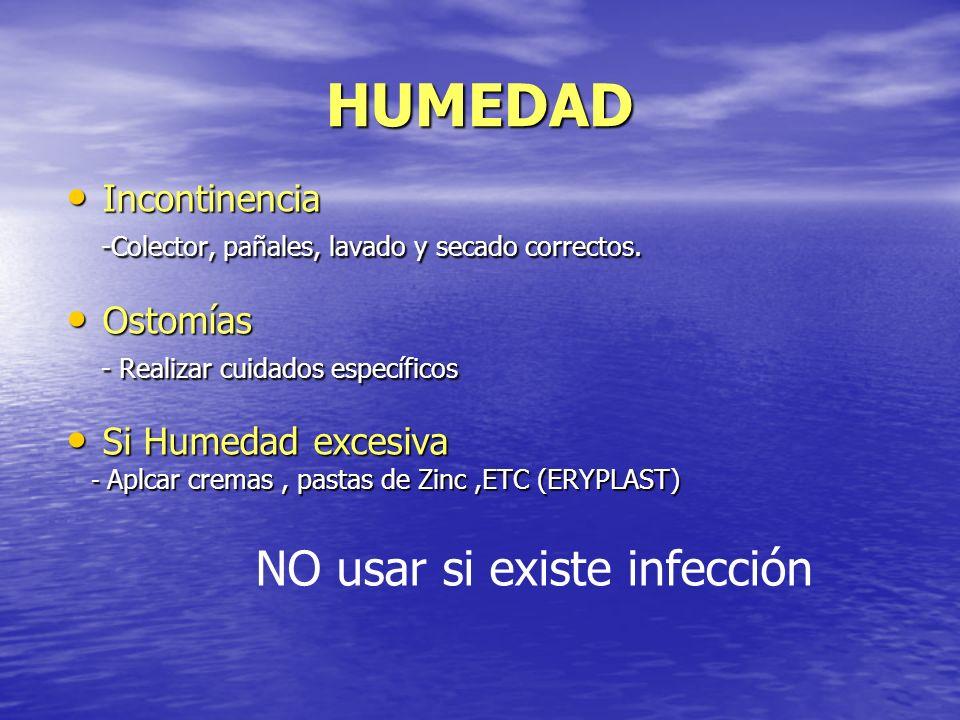 HUMEDAD NO usar si existe infección Incontinencia