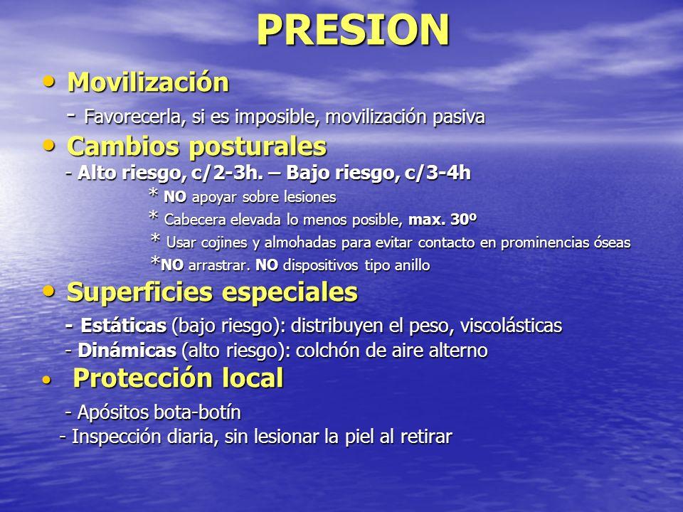 PRESION Movilización. - Favorecerla, si es imposible, movilización pasiva. Cambios posturales. - Alto riesgo, c/2-3h. – Bajo riesgo, c/3-4h.