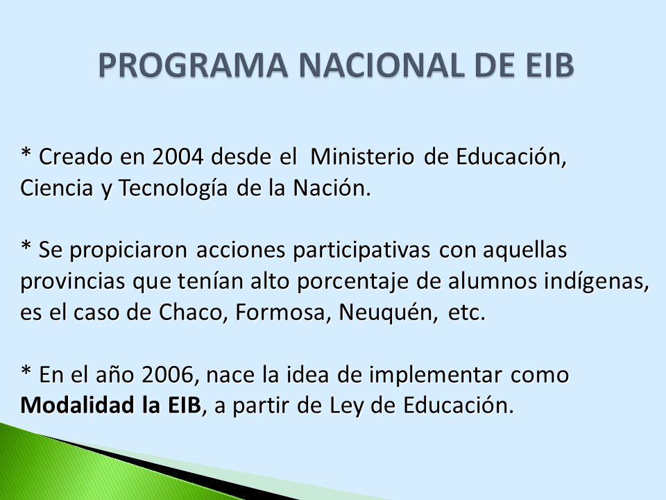 PROGRAMA NACIONAL DE EIB