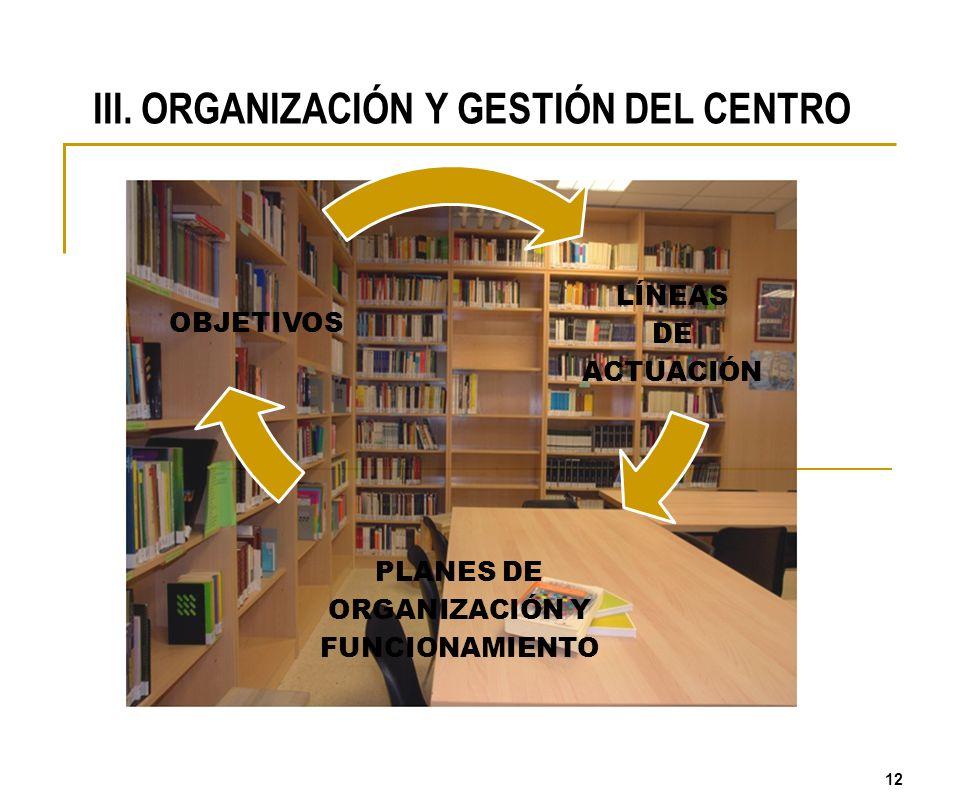 III. ORGANIZACIÓN Y GESTIÓN DEL CENTRO