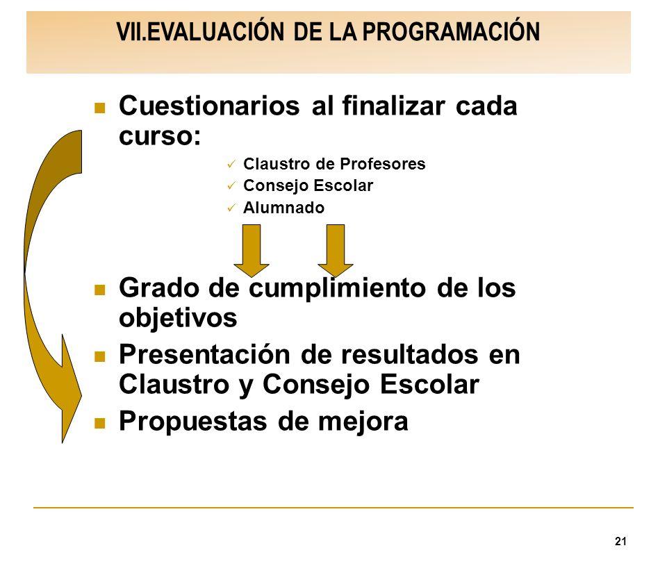 VII.EVALUACIÓN DE LA PROGRAMACIÓN