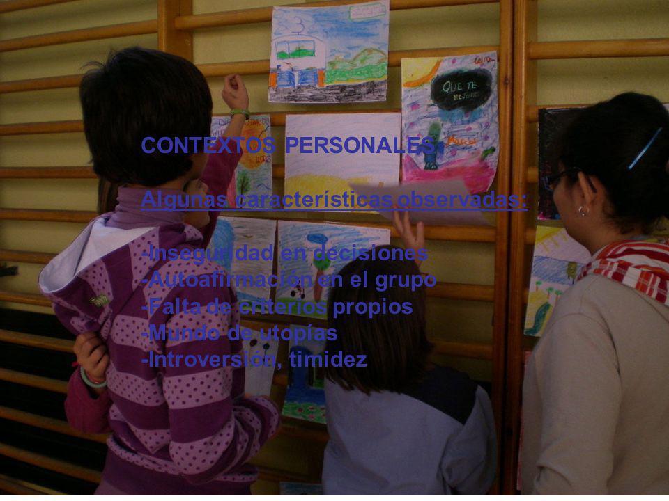 CONTEXTOS PERSONALES Algunas características observadas: -Inseguridad en decisiones. -Autoafirmación en el grupo.