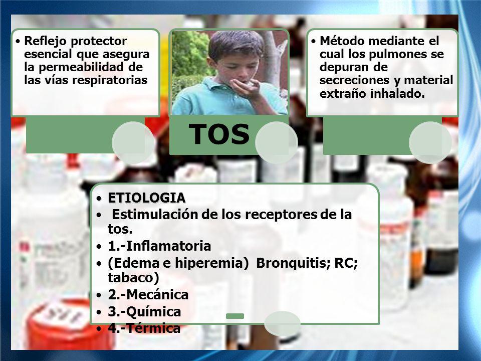 Estimulación de los receptores de la tos. 1.-Inflamatoria