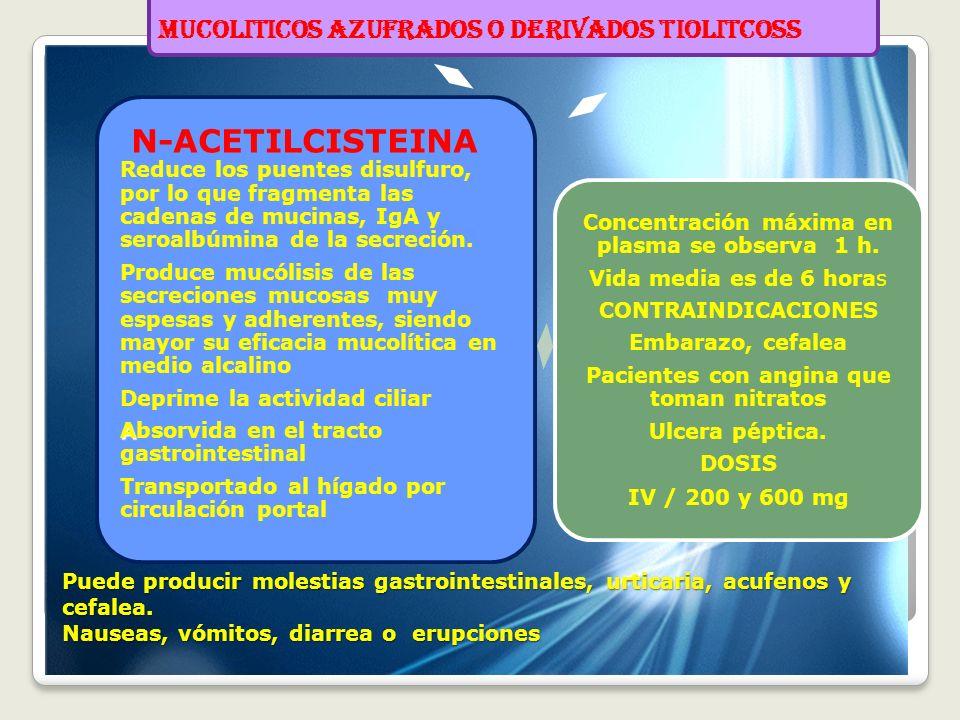 MUCOLITICOS AZUFRADOS O DERIVADOS TIOLITCOSS