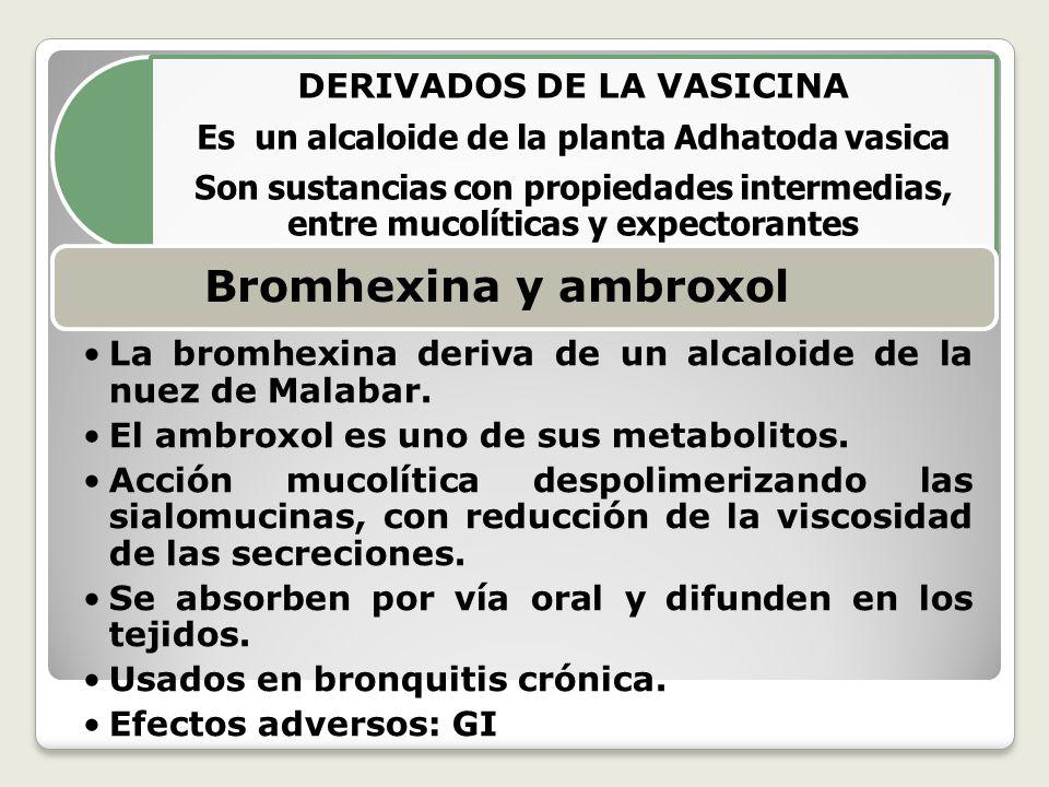 Es un alcaloide de la planta Adhatoda vasica DERIVADOS DE LA VASICINA