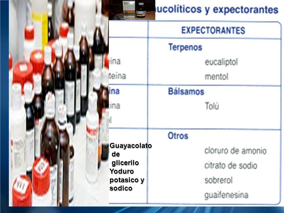 EXPECTORANTES Guayacolato de glicerilo Yoduro potasico y sodico