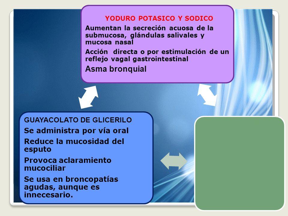 Asma bronquial GUAYACOLATO DE GLICERILO Se administra por vía oral