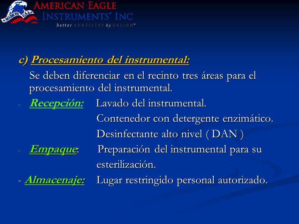c) Procesamiento del instrumental: