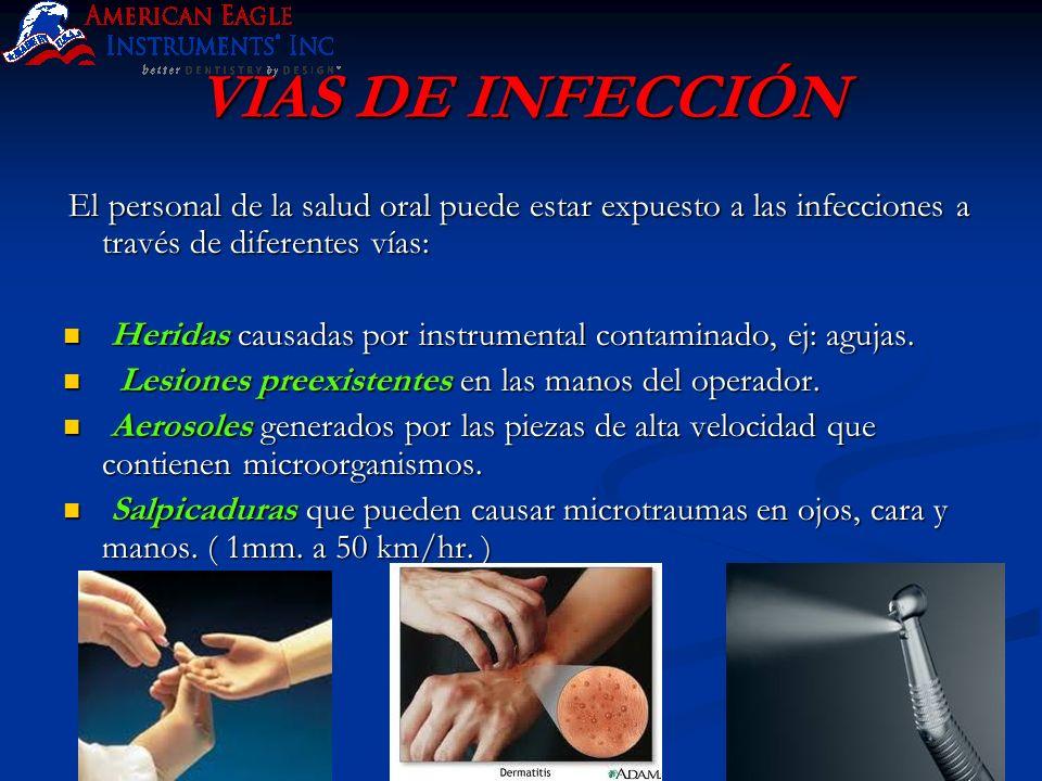 VIAS DE INFECCIÓN El personal de la salud oral puede estar expuesto a las infecciones a través de diferentes vías: