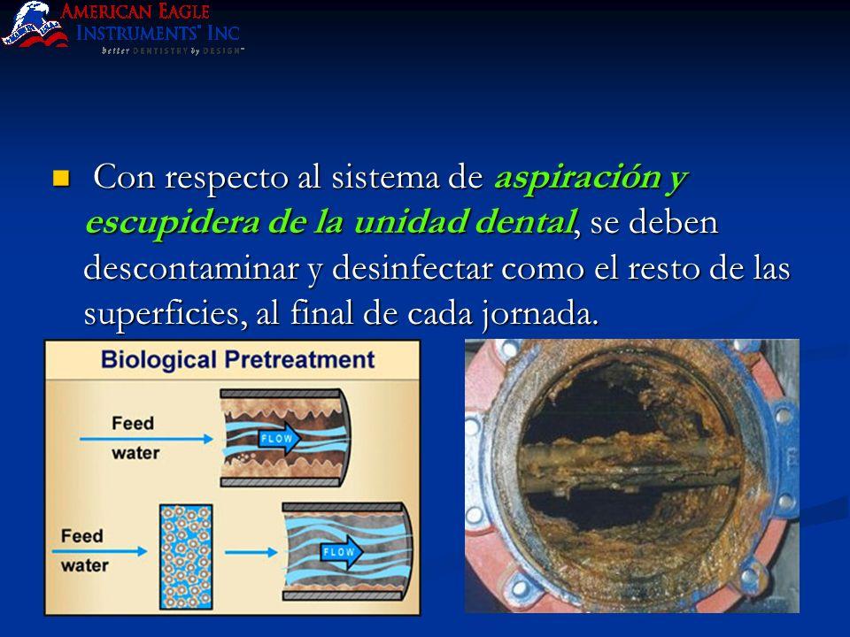 Con respecto al sistema de aspiración y escupidera de la unidad dental, se deben descontaminar y desinfectar como el resto de las superficies, al final de cada jornada.
