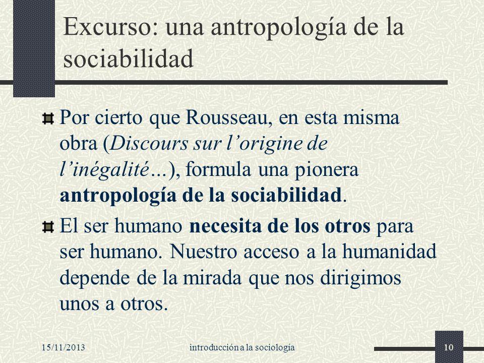 Excurso: una antropología de la sociabilidad