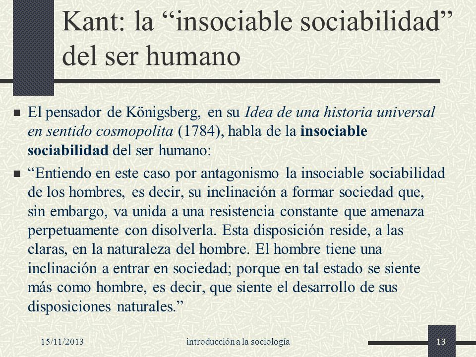 Kant: la insociable sociabilidad del ser humano