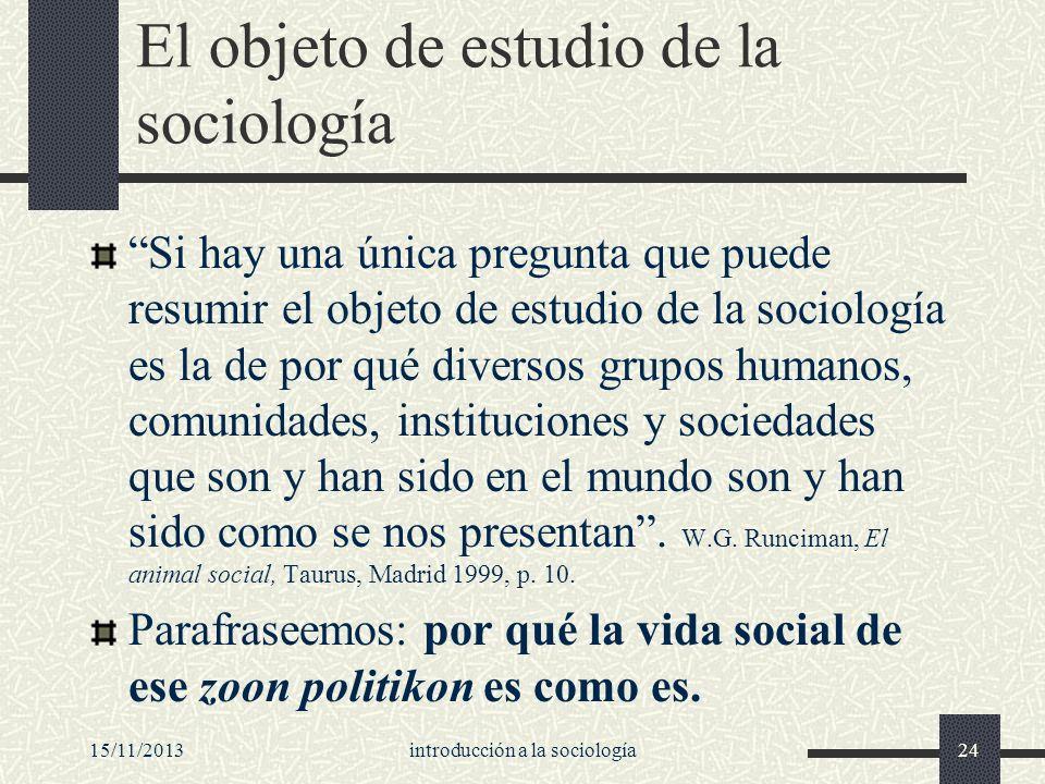 El objeto de estudio de la sociología