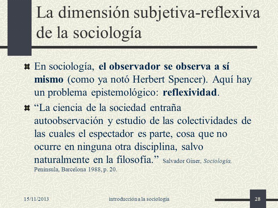 La dimensión subjetiva-reflexiva de la sociología