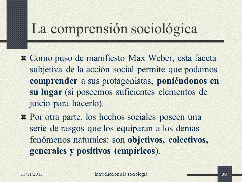 La comprensión sociológica