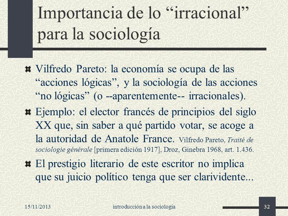 Importancia de lo irracional para la sociología