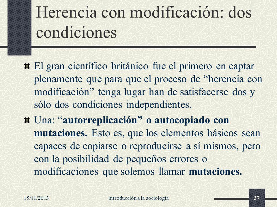 Herencia con modificación: dos condiciones