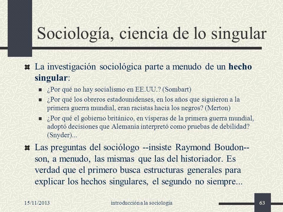 Sociología, ciencia de lo singular